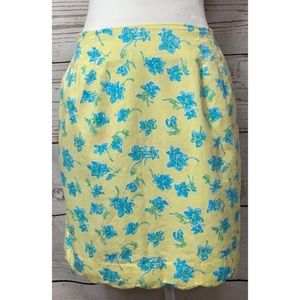 NWOT Lilly Pulitzer Yellow & Blue Floral Skirt 8